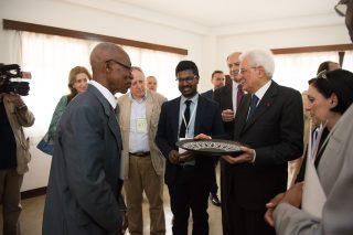 Il Presidente della Repubblica Italiana Sergio Mattarella in visita alla sede COE Mbalmayo, in occasione della sua Visita di Stato in Camerun.