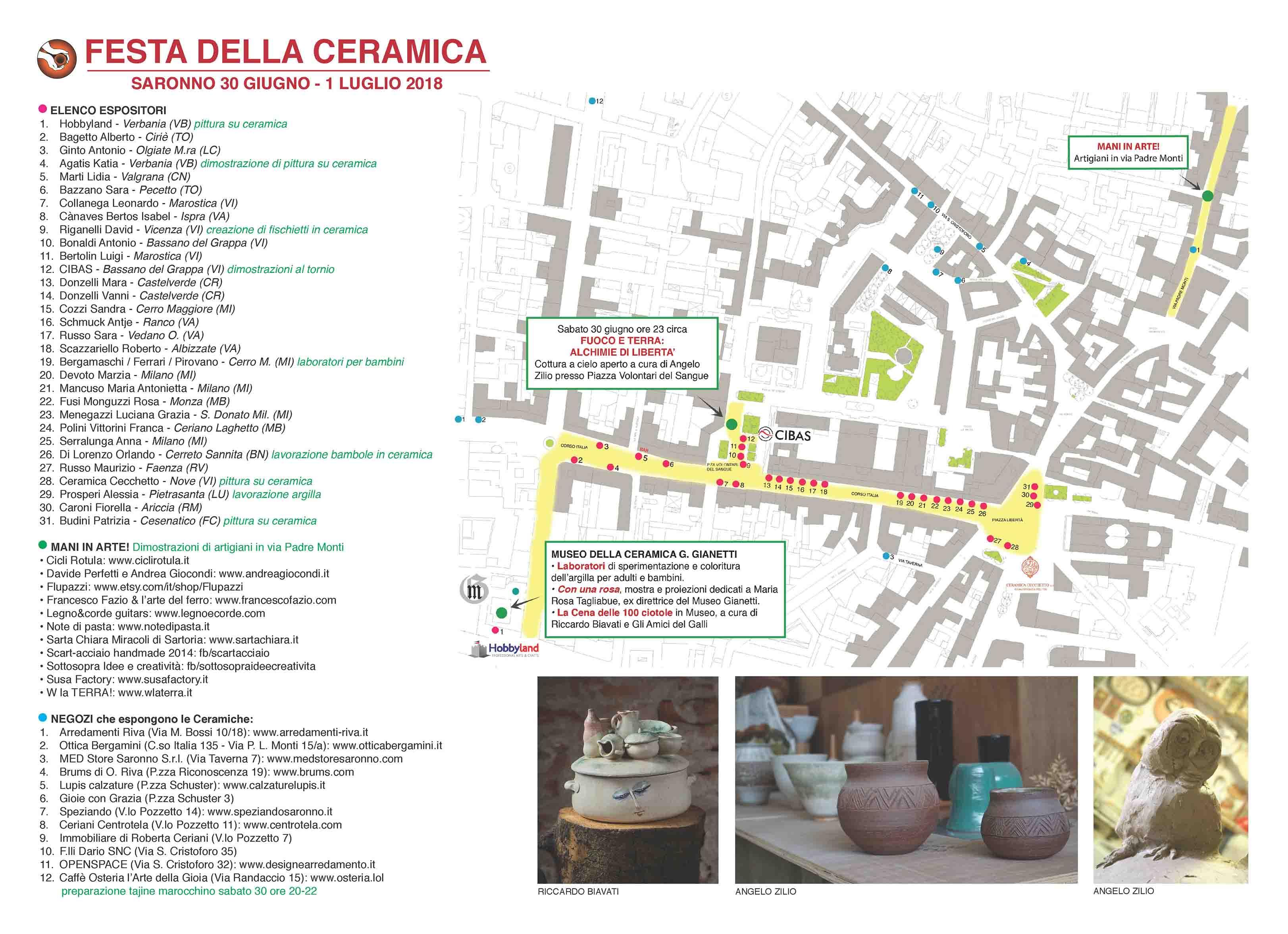 Festa della ceramica Saronno 2018 - cartina