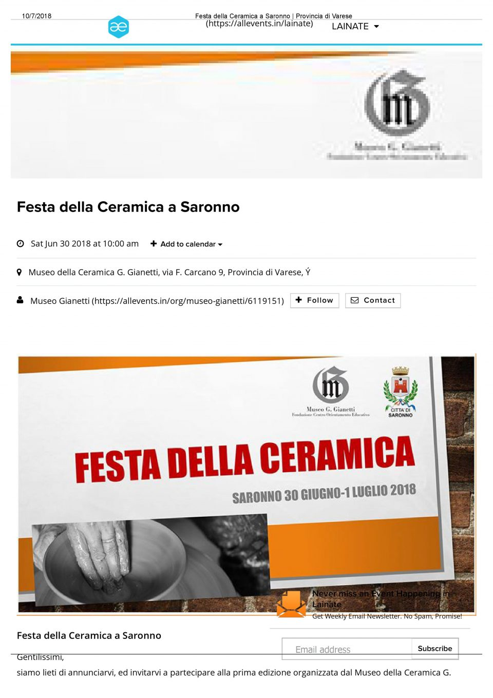 Allevents_Festa della Ceramica a Saronno _ Provincia di Varese