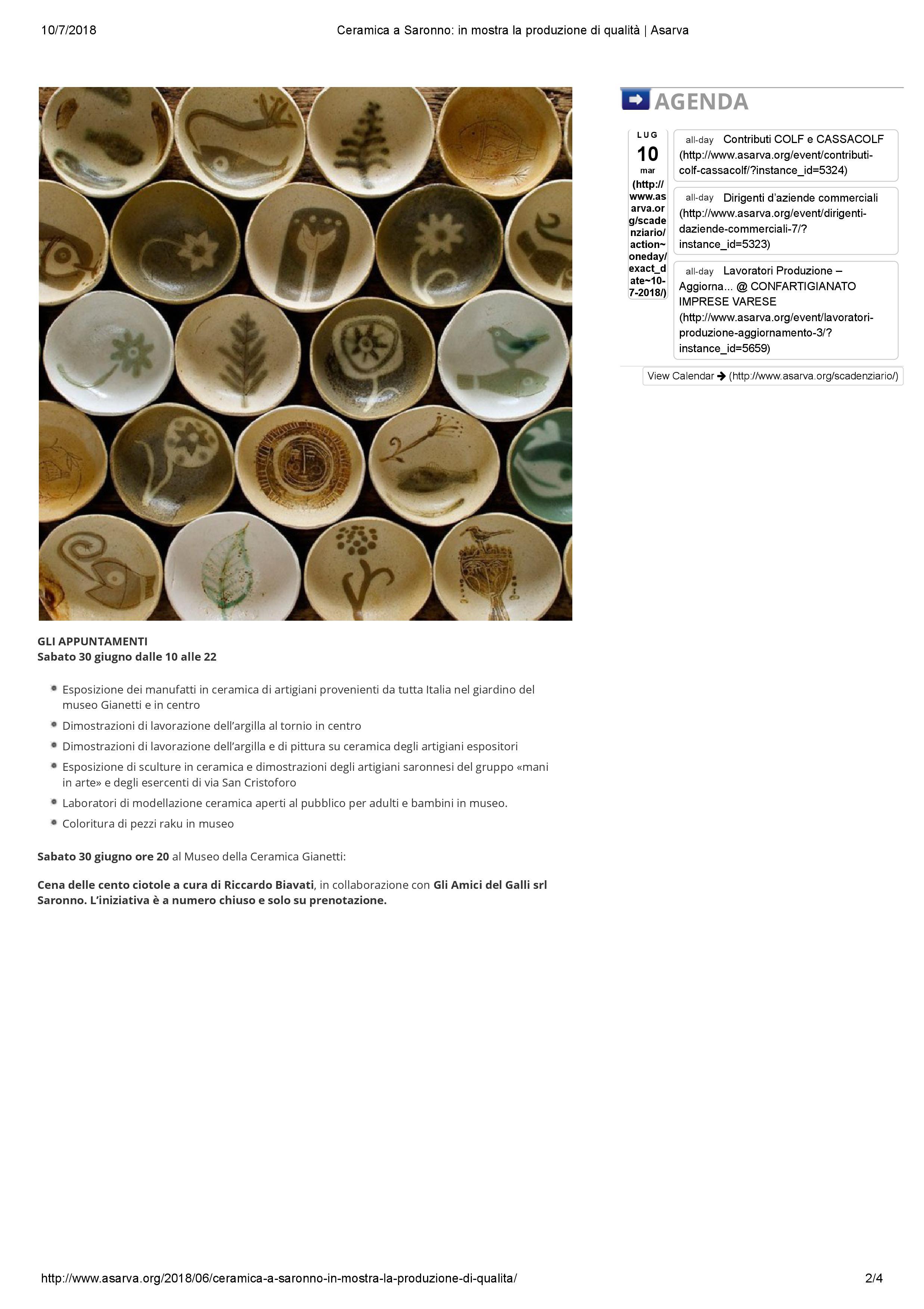 Asarva_confartigianato_Ceramica a Saronno_ in mostra la produzione di qualità