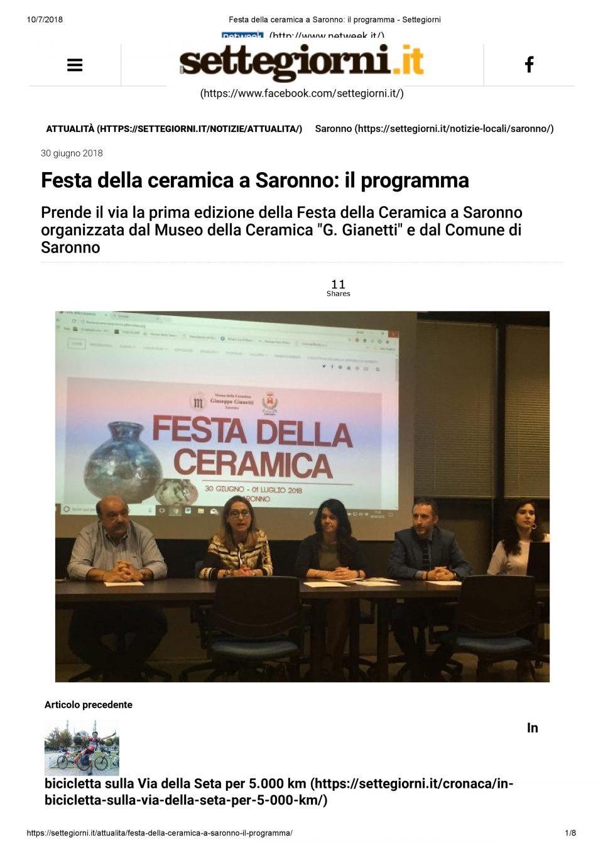 Settegiorni.it_Festa della ceramica a Saronno_ il programma - Settegiorni