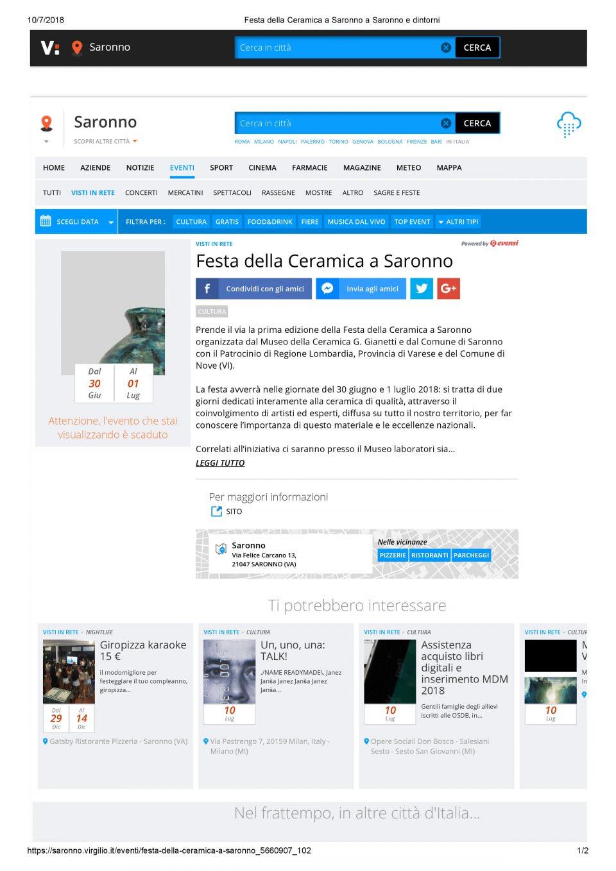 Virgilio_Festa della Ceramica a Saronno a Saronno e dintorni
